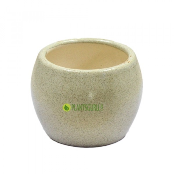 Ceramic Pot Round Bowl Shape 4inch (Pack of 3)