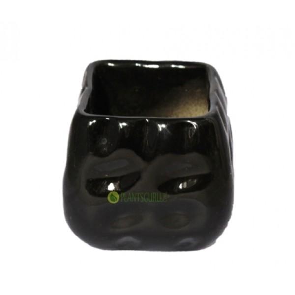 Ceramic Pot Square Black 3inch (Pack of 3)