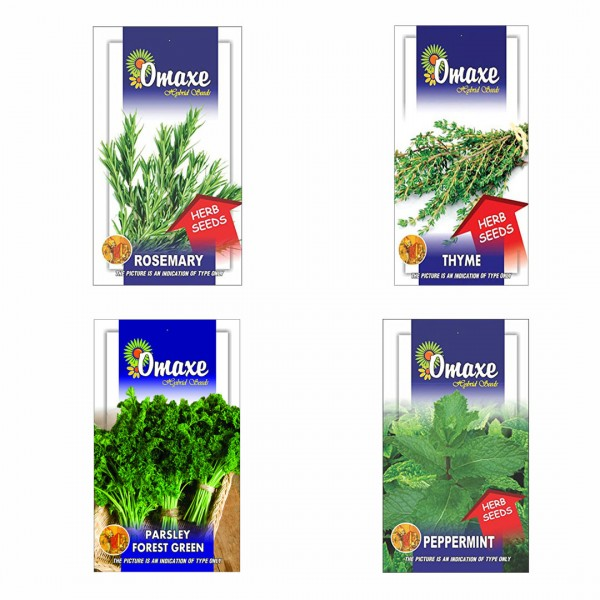 Omaxe Herb Seeds Pack of 4(Rosemary, Thyme, Parsley Forest, Peppermint)