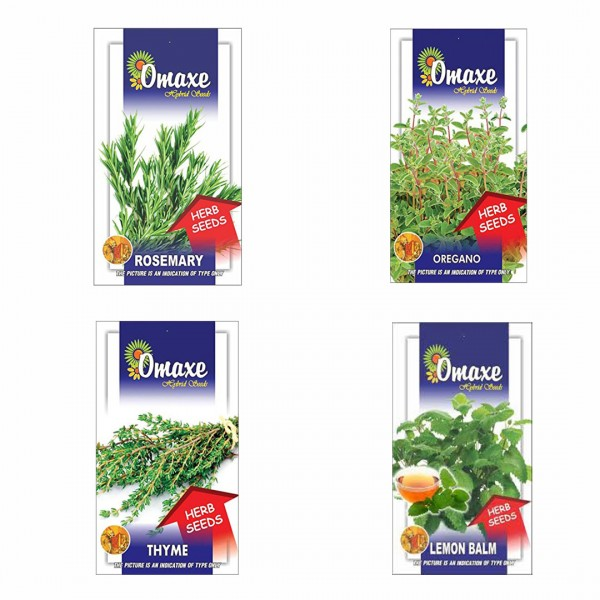 Omaxe Herbs Seeds Pack of 4 (Oregano, Lamon Balm, Parsley Moss Curled, Lamon Grass)