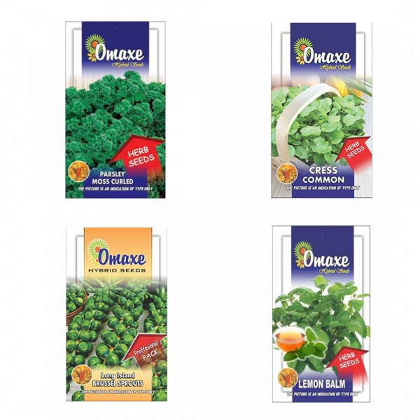 Omaxe Herb Seeds Pack of 4 (Lamon Balm, Long Island Brussel, Parsley Moss Curled, Cress Common)