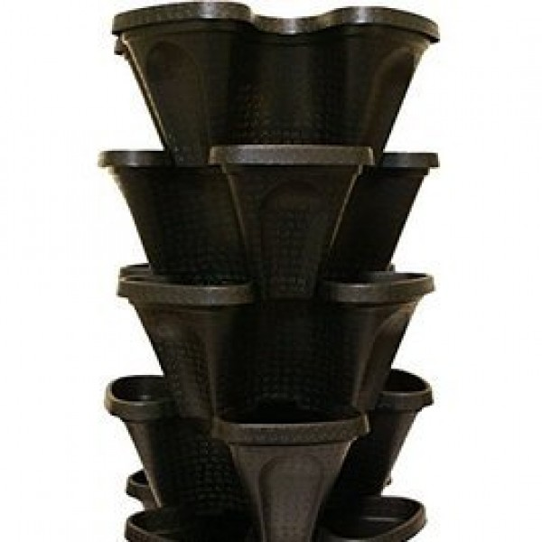 Tower Planter Black (Pack of 3)