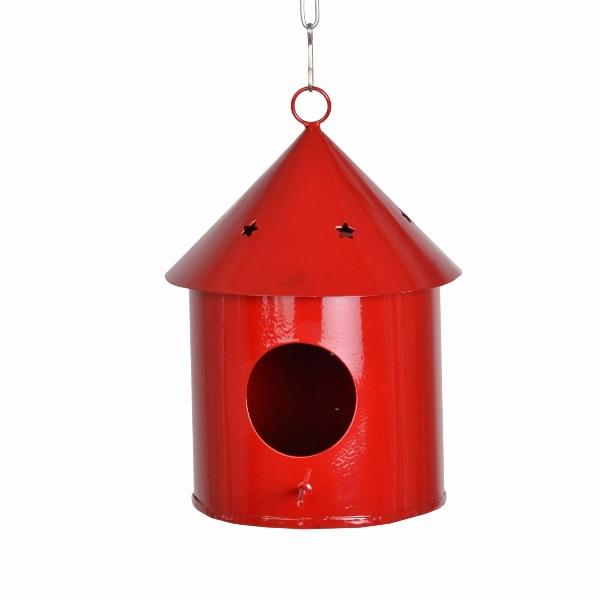 Hanging Bird House Round Red