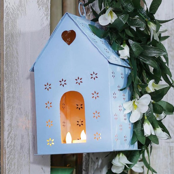 Hanging Bird House Square Blue