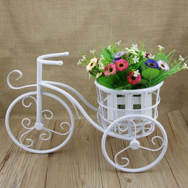 Bicycle Shape White Small Pot Stand