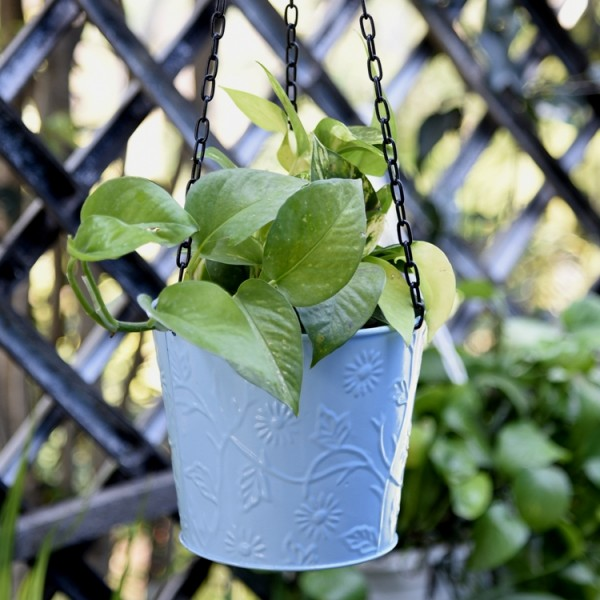 Balcony Hanging Metal Bucket Blue