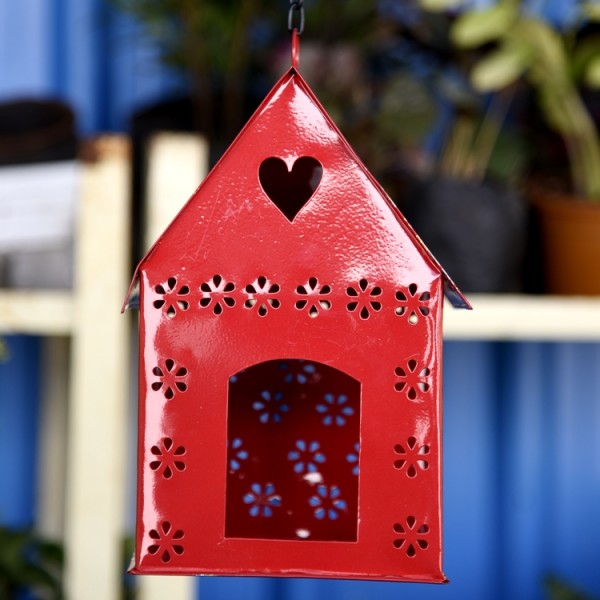 Hanging Bird House Square Red