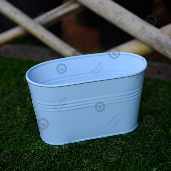Metal Oval Planter Blue