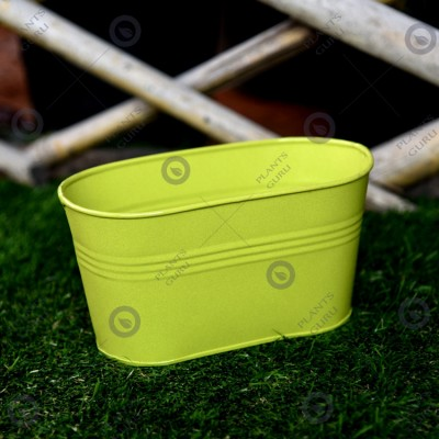 Metal Oval Planter Green
