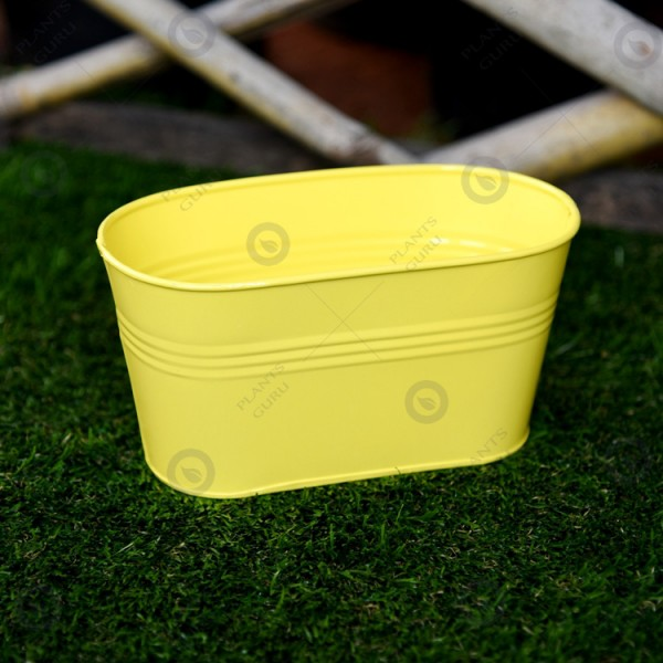 Metal Oval Planter Yellow