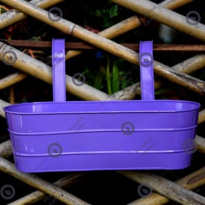 Metal Oval Railing Planter Purple