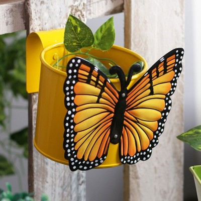 Butterfly Yellow Metal Pot Planter