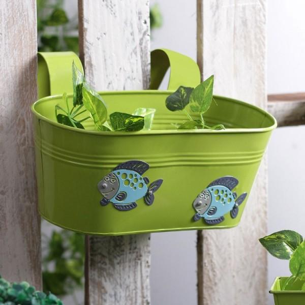 Green Fish Metal Tub Planter