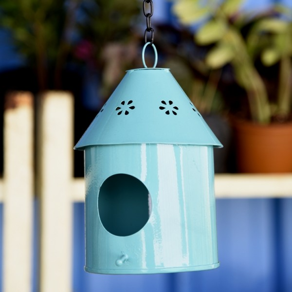 Hanging Bird House Round Blue