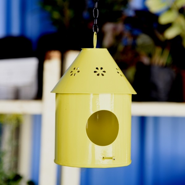 Hanging Bird House Round Yellow