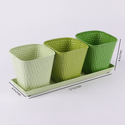 Herb Set Green shade Metal Planter