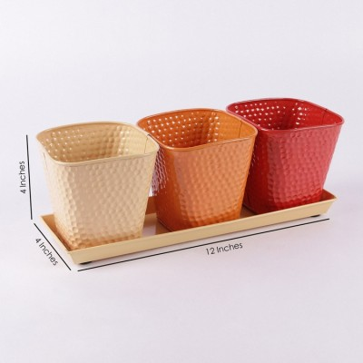 Herb Set Orange shade Metal Planter
