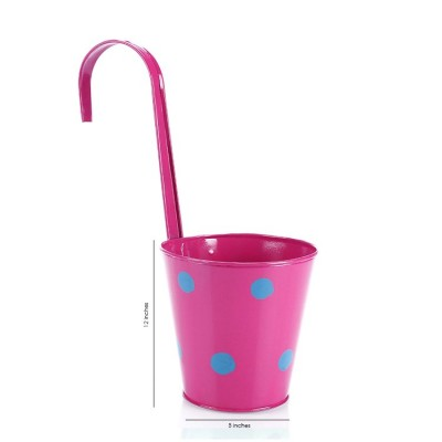 Polka Dots Railing Metal Planter Pink