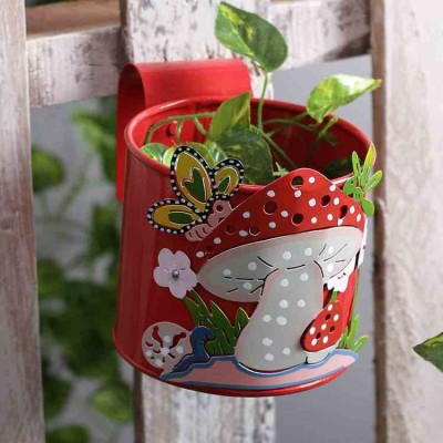Mushroom Metal Railing, Hook Planter Red
