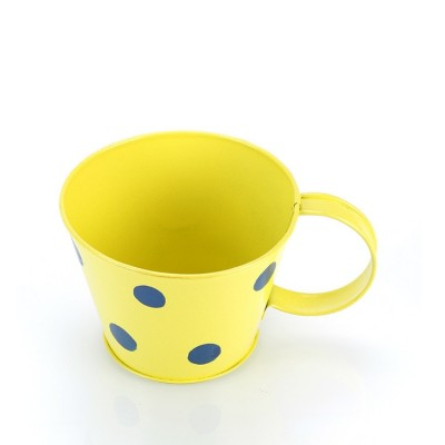 Cup metal planter yellow small