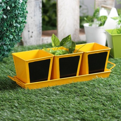 Herb Set Chalk Board Metal Planter Yellow