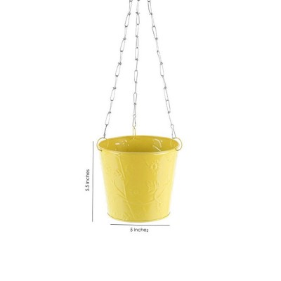 Balcony Hanging Metal Bucket Yellow