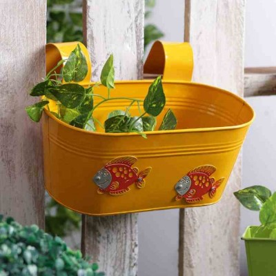 Fish Metal Tub Railing Planter Yellow