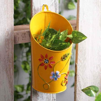Half Moon Metal Planter Yellow