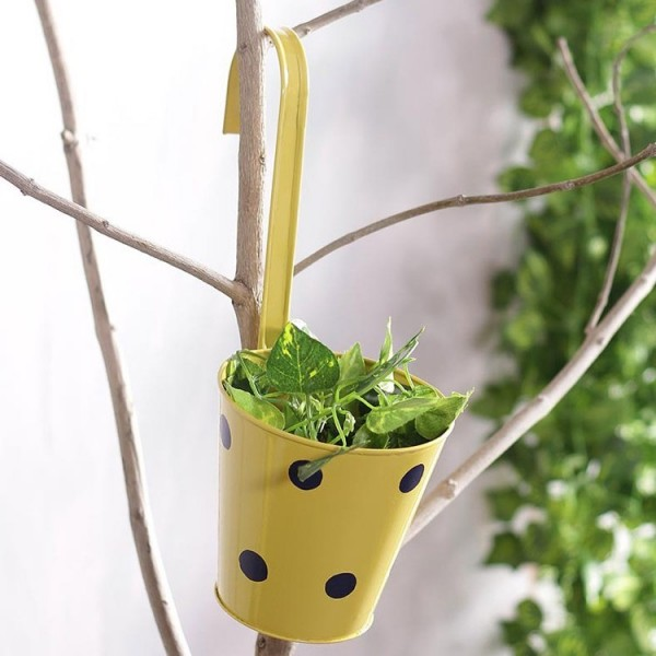 Polka Dots Railing Metal Planter Yellow