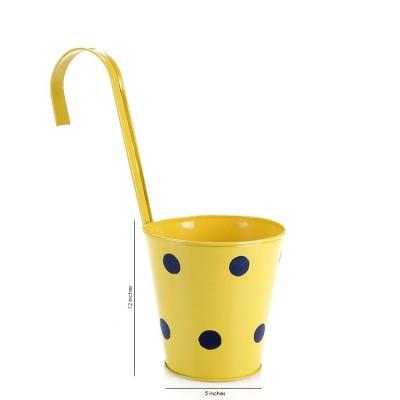 Polka Dots Railing Metal Planter Yellow