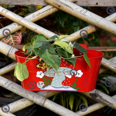 Railing Mushroom Planter Red