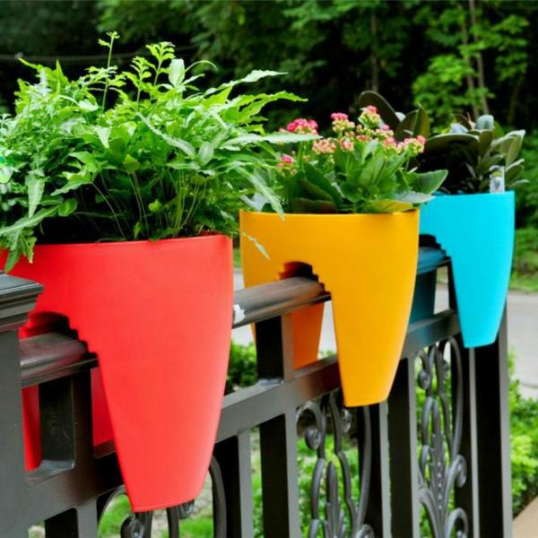 Balcony Railling Planter 10inch Mix Color (Pack of 3)