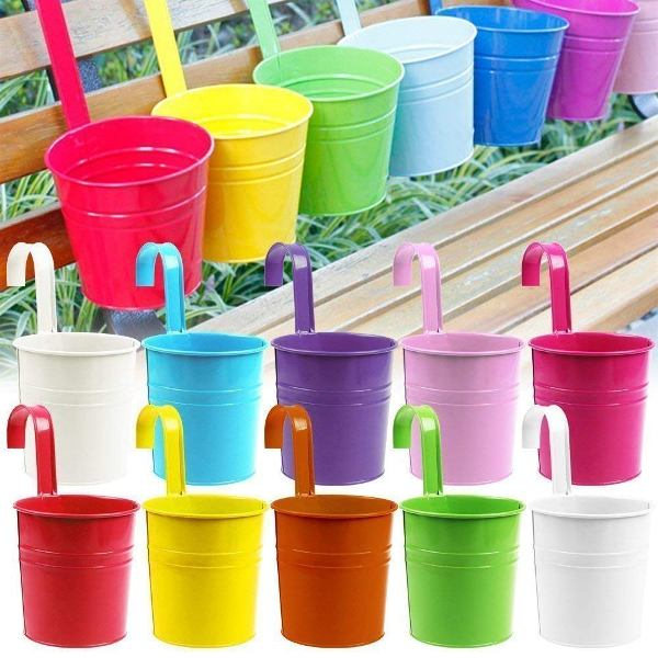 Balcony Railling Metal Planter 6 inch Mix Color (Pack of 6)