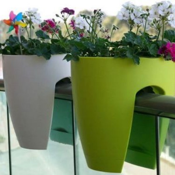 Balcony Railling Planter 10inch Green White (Pack of 2)